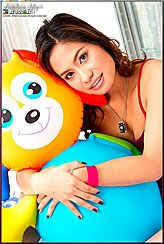 Busty Asian Girls Clutching Inflatable Toy