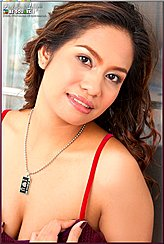 Angelena Loly Fingering Bra Strap Pendant Necklace Showing Cleavage