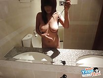 Gail naked in bathroom self shot picture long hair big tits