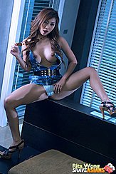 Sitting On Bench Legs Spread Bare Breasts Big Tits Long Hair Showing Panties In High Heels