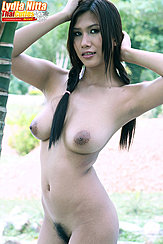Standing Nude Arms Raised Hair In Pigtails Big Breasts Hairy Pussy