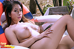 Reclining Naked On Lounger Big Tits