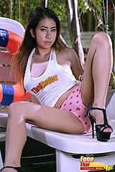 Reclining On Lounger Spreading Her Legs In Panties Wearing High Heels