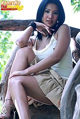 Seated On Wooden Steps Wearing Short Skirt