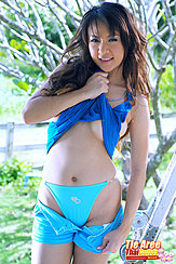 Shorts Pulled Down Showing Her Panties Long Hair
