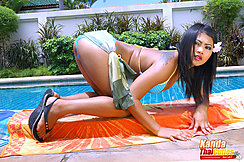 On All Fours On Towel Beside Swimming Pool In Bikini