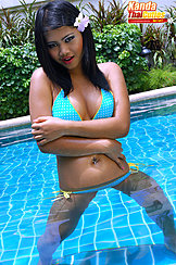 Standing In Pool Arms Folded Wearing Bikini