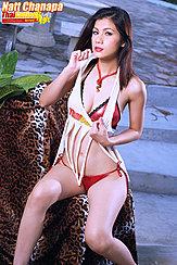 Natt Chanapa Seated Pulling Top Down Wearing Bra And Panties