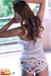 Long Hair Down Her Back Wearing Panties