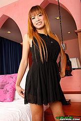 Auburn Long Hair Over Her Black Dress