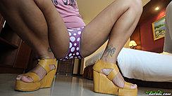 Squatting On Floor Legs Open In Panties